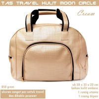 Tas Kabin Travel Besar Kulit Moon Circle cream
