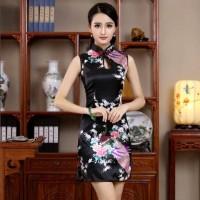 Fashion Wanita Baju Cheongsam Imlek Hitam Impor