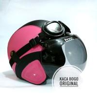 Helm Bogo Bonus Kacamata Retro Pink Hitam Kulit Sintetis MTX Terlaris
