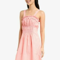Dress Zalora Ruffle pink with ruched waist terusan kemben karet