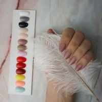 24 Tips Short Round Fake Nails / Kuku Palsu Warna untuk 2 tangan