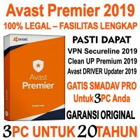 Antivirus Avast Premier Key License ORI 3 PC utk 20 Th Free SMADAV Pro