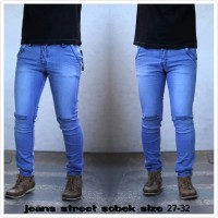 Celana jeans sobek robek lutut cut knee premium