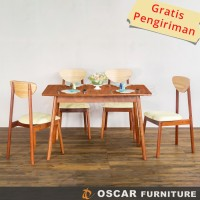 Oscar Furniture - Dining Set Carpi - 1 Meja Makan & 4 Kursi Makan