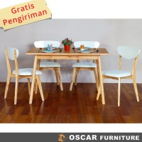 Oscar Furniture - Dining Set Catania 120, 1 Meja Makan & 4 Kursi Makan