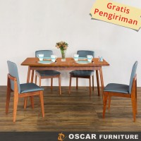 Oscar Furniture - Dining Set Genoa 120 - 1 Meja Makan & 4 Kursi Makan