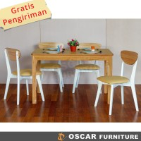 Oscar Furniture - Dining Set Rimindi 80, 1 Meja & 4 Kursi, Disc.10%