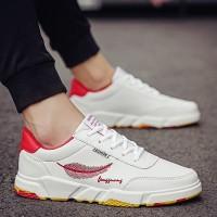 Sepatu Sneakers Casual Pria Warna Putih Model Flat Gaya Sport Korea Ba