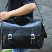 Messengger Leather Bag Lintang Black - Kenes leather