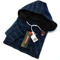 kemeja flanel hoodie/kupluk premium lengan panjang