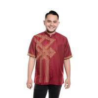 Jual Baju Lebaran Model Koko Bordir Premium Pendek Merah Stylish