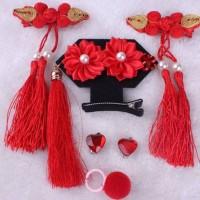 Aksesoris Fashion Anak Set Jepit Rambut, Giwang & Cincin Bunga Merah