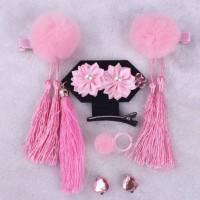 Aksesoris Fashion Anak Set Jepit Rambut, Giwang & Cincin CNY Pom Pink