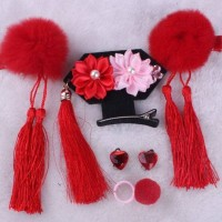 Aksesoris Fashion Anak Set Jepit Rambut, Giwang & Cincin CNY Pom Merah