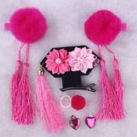 Aksesoris Fashion Anak Set Jepit Rambut, Giwang & Cincin CNY Pom Fushi