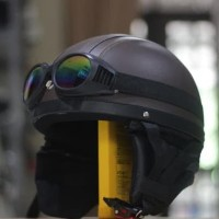 Helm Bogo - Helm Chip Kacamata Goggle Rainbow - Coklat