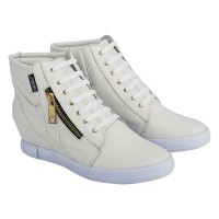 Sepatu Boots Wanita / Sepatu Casual Semi Kulit Murah (BRGH-9615) - Putih, 36
