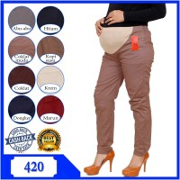 Celana panjang ibu hamil bahan katun stretch elastis - Celana hamil