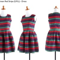 Limited Dress pesta stripe katun import murah cina korea fashio