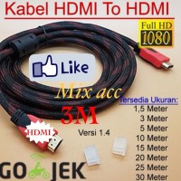 KABEL HDMI 3M SERAT JARING HDMI TO HDMI 3 m 1080P V14 3D HQ