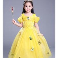 Dress Baju Kostum Gaun Princess Putri Cinderella Kuning Tangan Pendek