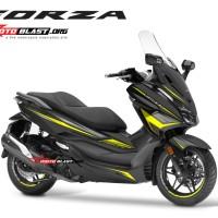 Decal stiker Honda Forza 250 BLACK WINGS CARBON YELLOW TIDAK FULLBODY
