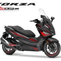 Decal stiker Honda Forza 250 BLACK WINGS CARBON RED TIDAK FULLBODY