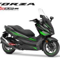 Decal stiker Honda Forza 250 BLACK WINGS GREEN TIDAK FULLBODY