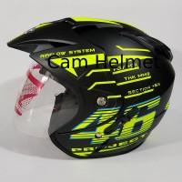 Helm KNC 2 kaca 46 Rossi Black doff yellow
