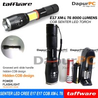 Paket Senter E17 COB Senter LED Torch Cree XM-L T6 8000 Lumens