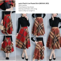 24672 Plaid A Line Pleated Skirt (BROWN)