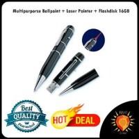 Multipurporse Ballpoint Pulpen Pena + Laser Pointer + Flashdis