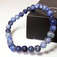 VeE Gelang Pria Wanita Batu Giok Biru Corak 6mm - Gelang Terapi