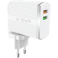 Travel Charger 2 USB Port QC 3.0 Fast Charging V-GeN | Adaptor VGEN