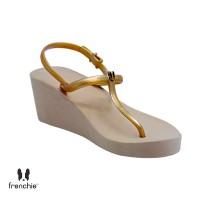 Sandal Wanita Frenchie Wedges Strappy Gold Mocca SHS02