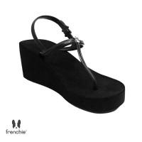 Sandal Wanita Frenchie Wedges Strappy Black SHS01