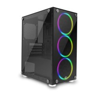 CUBE GAMING VARDE & 3 PCs RAINBOW BOREALIS FAN mATX Case Casing PC
