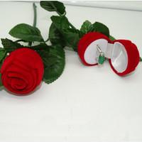 Tempat Cincin Tangkai Mawar Pernikahan Kotak Perhiasan Anting - HPR370