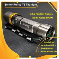 SENTER POLICE T6 TITANIUM GREY + FILTER ,KOMPAS | SWAT CREE LED TERANG