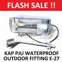 Kap Lampu Jalan PJU waterproof LED outdoor fitting E27 + TIANG KABEL