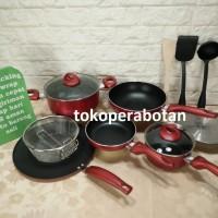 (Bonus 3pcs) Panci set Supra 12pc warna (merah) / steamer / grill