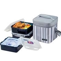 Lock&Lock Lunch Box Set with Gray Stripe Bag - HPL856DG