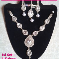 Bridal Necklace Set-NS-B-1806-1-Kalung Anting Maang Tikka-Ori India