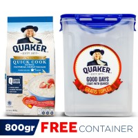 Quaker Quick Cooking Oatmeal 800 Gr - FREE Container