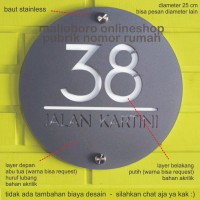 Nomor / Nomer Rumah Akrilik / Acrylic 2 Layer Lingkaran Diameter 25cm