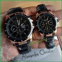 Alexandre Christie 6141 Couple Stainless Steel Black Rose Gold Ori
