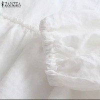 Blus Wanita Casual Lengan Lentera Model Round Neck - Putih, S