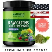 NATURELO Raw Greens Whole Food Powder WILD BERRY FLAVOR Super 30 days