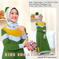Sonata Kid/Gamis Wafel Import/Gamis Anak/Baju Muslim Anak Perempuan