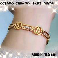 xuping atau perhiasan lapis emas gelang dewasa channel plat mata SED